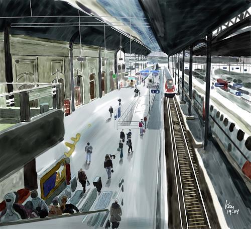 Kay, Hallo_Basel, Menschen: Gruppe, Verkehr: Bahn, Gegenwartskunst, Expressionismus