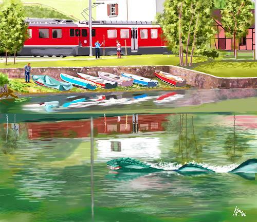 Kay, Aufregung in Miralago, Landschaft: See/Meer, Fantasie, Gegenwartskunst