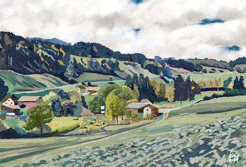 Kay, Tösstal, Landschaft: Hügel, Natur: Diverse, Gegenwartskunst, Expressionismus