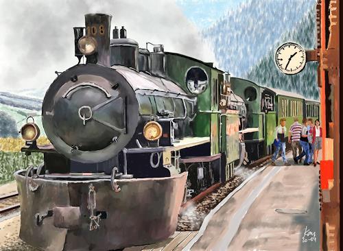 Kay, Sumvitg 2008, Landschaft: Berge, Verkehr: Bahn, Gegenwartskunst