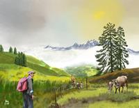 Kay-Landschaft-Berge-Diverse-Menschen-Gegenwartskunst-Gegenwartskunst