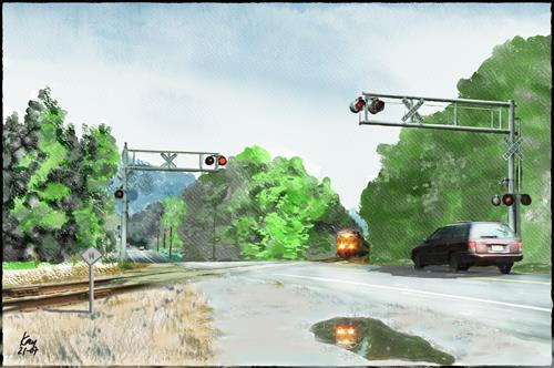 Kay, Convay Scenic RR, Landschaft: Herbst, Verkehr: Bahn, Gegenwartskunst, Expressionismus