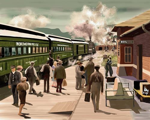 Kay, North Coast Limited, Verkehr: Bahn, Diverse Menschen, Gegenwartskunst, Expressionismus