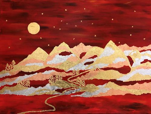 Godi Tresch, Bergmetall, Landschaft: Berge, Fantasie, Abstrakte Kunst