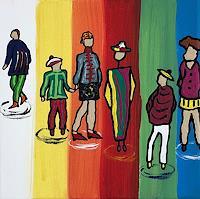 Godi-Tresch-Menschen-Gruppe-Fantasie-Moderne-Abstrakte-Kunst