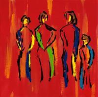 Godi-Tresch-Menschen-Gruppe-Gefuehle-Moderne-Abstrakte-Kunst
