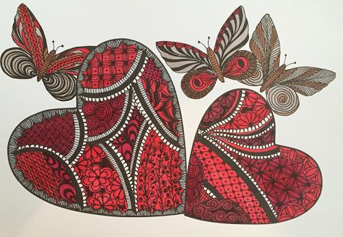 SuzAna Senn-Benes, Schmetterlings-Trio mit HERZ, Dekoratives, Romantik, Moderne, Expressionismus