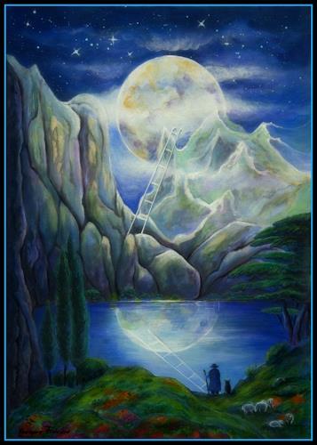 Grazyna Federico, Vollmondnacht, Fantasie, Weltraum: Mond, Expressionismus
