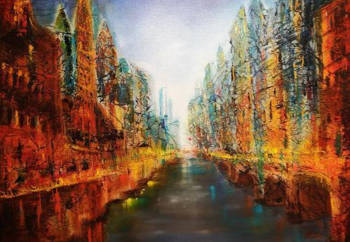 Gerhard Winkler, Stadt am Fluss, Landschaft, Abstraktes, Abstrakte Kunst, Abstrakter Expressionismus