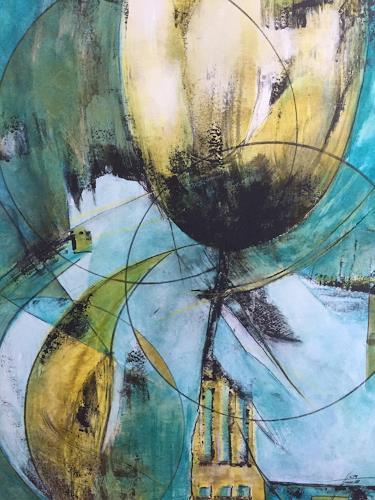 Christiane Mohr, Der Mond küsst die Blumen, Pflanzen: Blumen, Fantasie, Abstrakte Kunst, Abstrakter Expressionismus