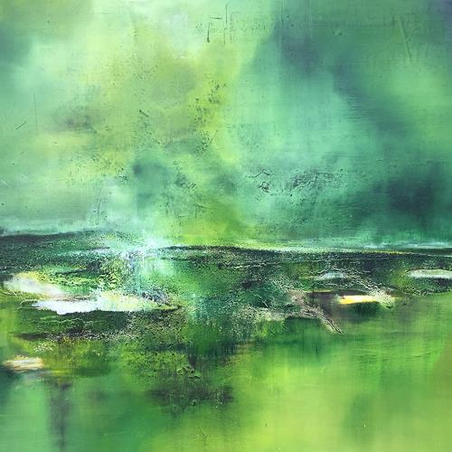 Christiane Mohr, Grüne Insel, Landschaft: See/Meer, Landschaft: Ebene, Abstrakte Kunst, Expressionismus