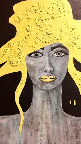 Christiane Mohr, Gelb, Menschen, Menschen: Gesichter, Abstrakte Kunst, Abstrakter Expressionismus