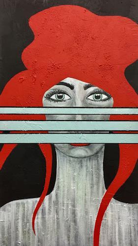 Christiane Mohr, Rot, Menschen: Frau, Menschen, Abstrakte Kunst, Abstrakter Expressionismus