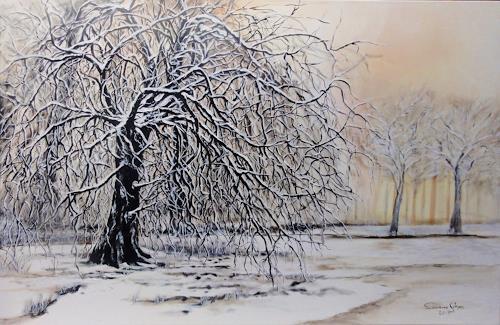 Susanne Geyer, Winter im Park, Landschaft: Winter, Pflanzen: Bäume, Gegenwartskunst, Expressionismus
