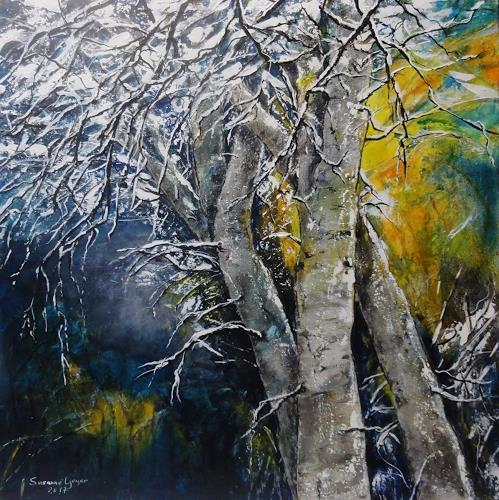 Susanne Geyer, Schnee, Pflanzen: Bäume, Landschaft: Winter, Gegenwartskunst, Expressionismus