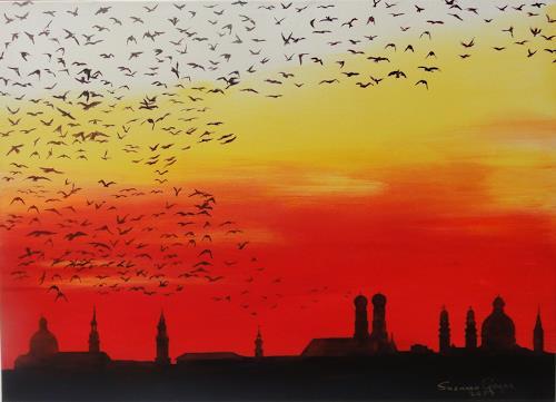 Susanne Geyer, Abflug, Tiere: Luft, Landschaft: Herbst, Gegenwartskunst