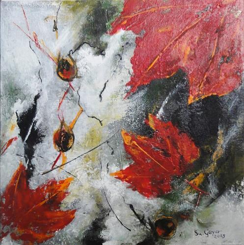 Susanne Geyer, When all the leaves are falling, Landschaft: Herbst, Pflanzen: Bäume, Gegenwartskunst, Expressionismus