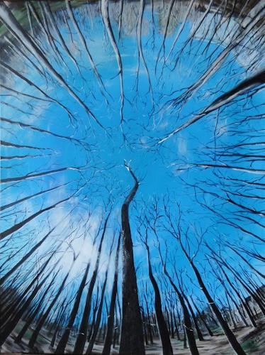 Susanne Geyer, Nach einem Foto von Jens Knappe, Pflanzen: Bäume, Natur: Wald, Gegenwartskunst, Abstrakter Expressionismus