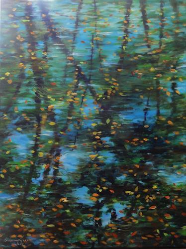 Susanne Geyer, Spiegelung, Natur: Wasser, Pflanzen: Bäume, Gegenwartskunst, Expressionismus