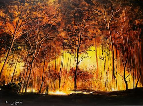 Susanne Geyer, Forest fire, Natur: Feuer, Natur: Wald, Gegenwartskunst, Expressionismus