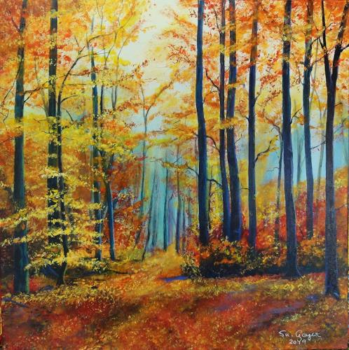 Susanne Geyer, Herbstwald, Landschaft: Herbst, Natur: Wald, Gegenwartskunst