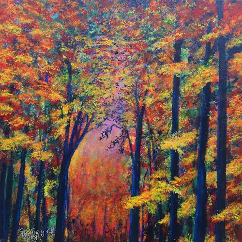 Susanne Geyer, Herbstimpression, Landschaft: Herbst, Natur: Wald, Gegenwartskunst, Expressionismus
