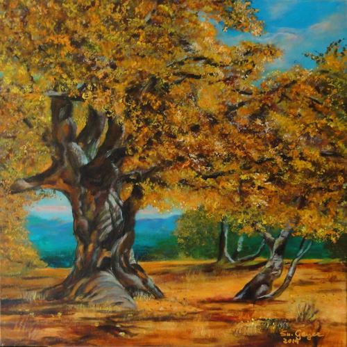 Susanne Geyer, Alte Eiche, Landschaft: Herbst, Natur: Wald, Gegenwartskunst, Expressionismus