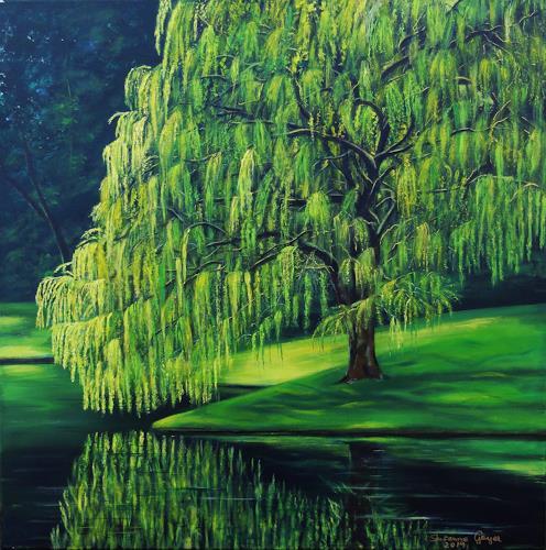 Susanne Geyer, Weeping Willow, Landschaft: Sommer, Pflanzen: Bäume, Gegenwartskunst