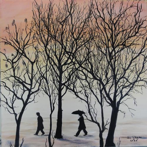Susanne Geyer, rainy day, Diverse Menschen, Landschaft: Winter, Gegenwartskunst, Expressionismus