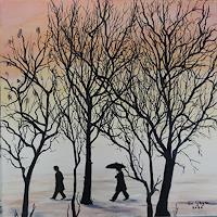 Susanne-Geyer-Diverse-Menschen-Landschaft-Winter-Gegenwartskunst-Gegenwartskunst