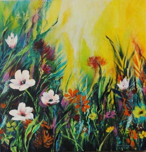 Susanne Geyer, Wildflowers 3, Pflanzen: Blumen, Landschaft: Sommer, Gegenwartskunst, Expressionismus