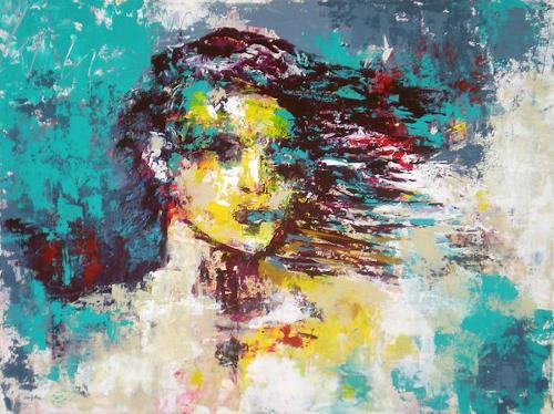 Iris Jurjahn, Waiting, Menschen, Abstrakte Kunst, Abstrakter Expressionismus
