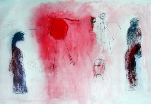 Reinhard Stammer, A mysterious red bird, Abstraktes, Tiere: Luft, Andere