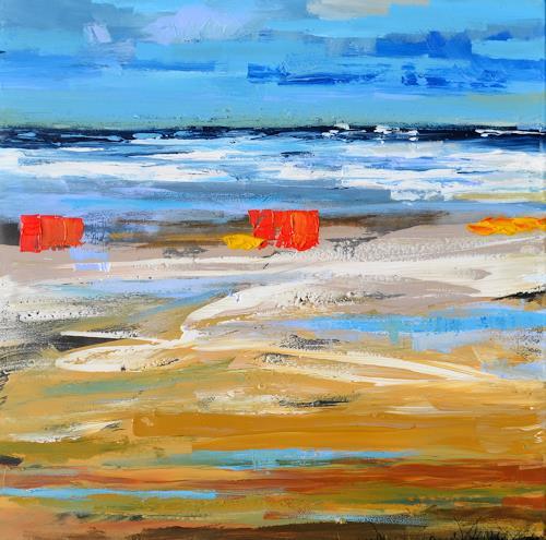 wim van de wege, Bunten Strand Domburg, Freizeit, Landschaft: See/Meer, Abstrakter Expressionismus, Expressionismus