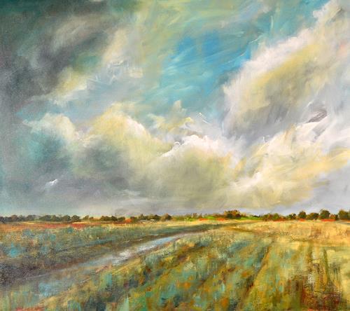wim van de wege, Polder Ellewoutsdijk, Landschaft: Herbst, Landschaft: Winter, Impressionismus, Expressionismus