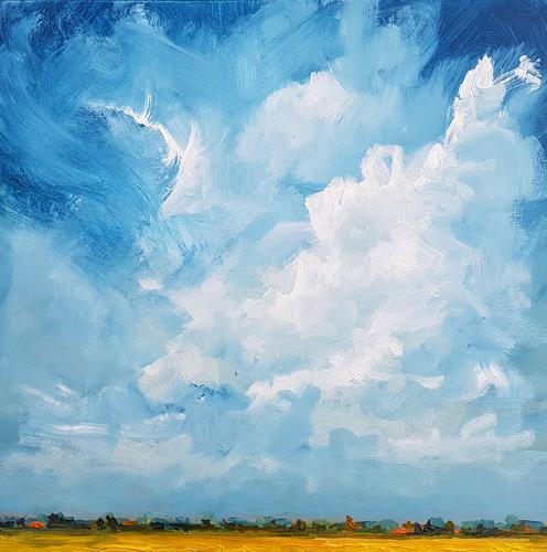 wim van de wege, Gelb Polder, Landschaft: Sommer, Diverse Landschaften, Impressionismus, Abstrakter Expressionismus