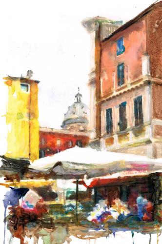 wim van de wege, Rome market square, Diverse Landschaften, Markt, Impressionismus