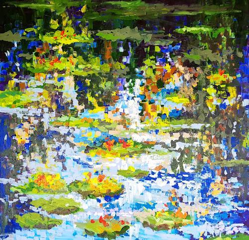 wim van de wege, Waterlilies in Monets garden (5), Diverse Pflanzen, Natur: Wasser, Neo-Impressionismus