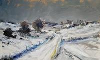 wim van de wege, Snowy landscape Yorkshire oil painting