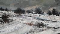 w. van de wege, Snowy landscape Yorkshire oil painting 2