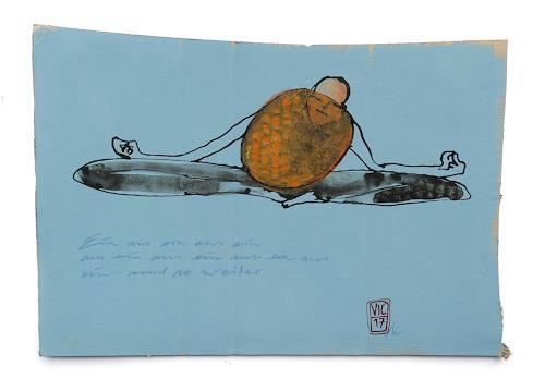 Victor Koch, Orangenkosmosherbsthaiku, Menschen: Mann, Zeiten: Herbst, Gegenwartskunst, Abstrakter Expressionismus