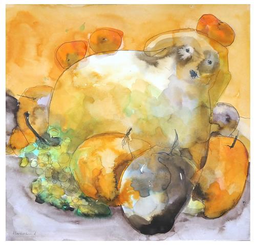 Victor Koch, Herbsthund im Obst, Tiere: Land, Ernte, Gegenwartskunst, Abstrakter Expressionismus