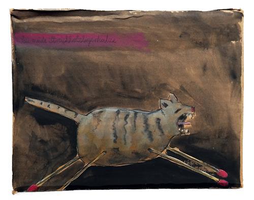 Victor Koch, Sau müde Streichholztigerkatze, Tiere: Land, Situationen, Gegenwartskunst, Abstrakter Expressionismus