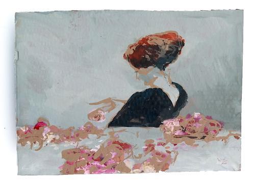 Victor Koch, Gegen Disharmonien, nach Herbert James Draper, 1897, Menschen: Frau, Pflanzen: Blumen, Gegenwartskunst