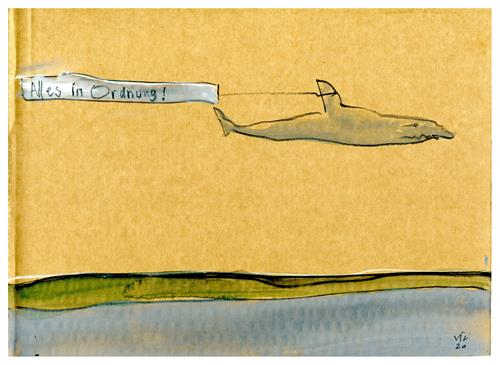 Victor Koch, Gute Nachricht, Diverse Landschaften, Tiere: Wasser, Gegenwartskunst