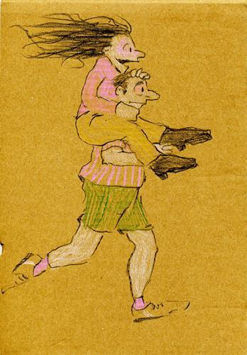 Victor Koch, Redewendung SICH AUF DEM LAUFENDEN HALTEN, Menschen: Paare, Sport, Gegenwartskunst, Expressionismus
