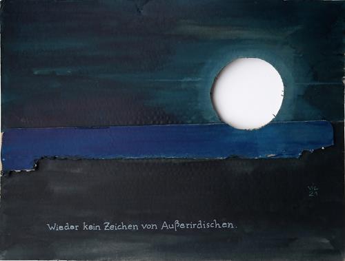 Victor Koch, Der Künstler teilt seine Beobachtung mit, Diverse Landschaften, Märchen, Gegenwartskunst, Expressionismus