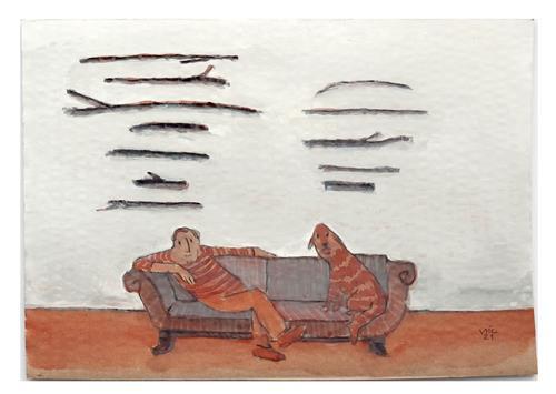 Victor Koch, Der Künstler gewinnt beim Stöckchensammelwettbewerb, Menschen: Mann, Tiere: Land, Gegenwartskunst