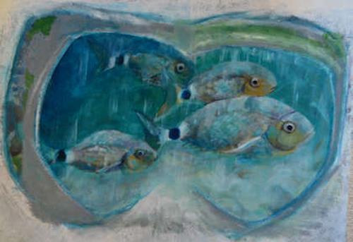 Edna Rasch, Meine Taucherbrille erinnert sich, Natur: Wasser, Tiere: Wasser, Neue Figurative Malerei, Expressionismus
