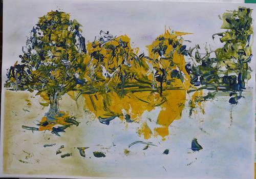 Veronika Ulrich, Am See, Landschaft: See/Meer, Abstraktes, Abstrakter Expressionismus